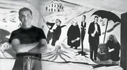 Hamptons Illustrated Addams with his Addams Family on Holiday mural in the bar at the Dune Deck (1952)