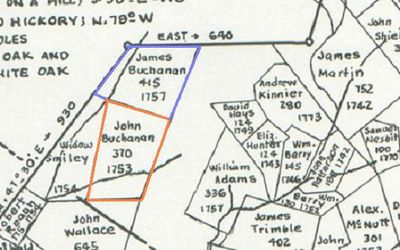 John Buchanan's land (Borden Grant NE Section, 370 acres) as shown on the map meticulously drawn by J.R. Hildebrand, cartographer. This map is copyrighted©, used by permission of John Hildebrand, son of J.R. Hildebrand, April, 2009.  Land of James Buchanan is adjoining this tract to the north.