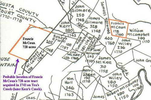 "Francis McCown's land (Borden Tract SW, probable location of Francis McCoun's 728-acre tract, ""adjoining Robert Erwin"" (this tract is just outside but on the boundary of the Borden Tract) and Francis' 178 acre-tract acquired in 1760) as shown on the map meticulously drawn by J.R. Hildebrand, cartographer. This map is copyrighted©, used by permission of John Hildebrand, son of J.R. Hildebrand, April, 2009."