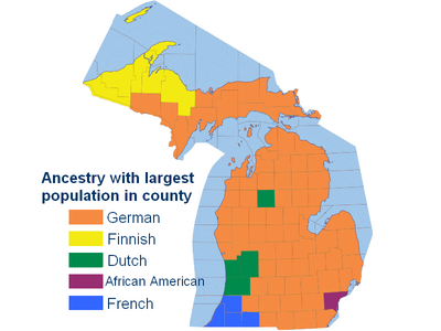 Ancestry with largest population in county