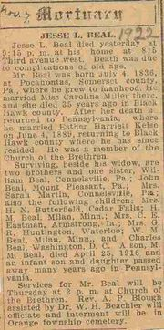 Obituary of Jesse Lichty Beal in Waterloo Courier