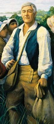 "Joseph Broussard as depicted in the mural ""The Arrival of the Acadians in Louisiana"" by Robert Dafford. S10"