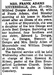 Obituary of Mildred Donges Adams