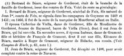 footnote regarding Bernard de Bearn and his first son Jean by his first wife, Catherine de Viella