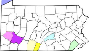 pale green=Chester County; pale blue=Cumberland County; pale yellow=Bedford County; dark yellow=Fulton County;  light purple=Allegheny County, dark purple=Westmoreland